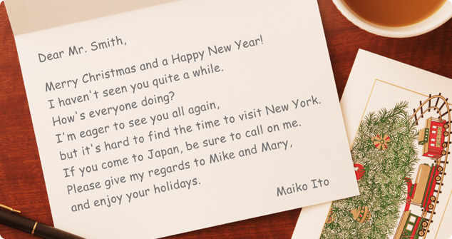 写真:クリスマスカードサンプル. 手紙見本