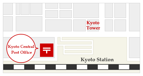 Kyoto Central Post Office Location Map